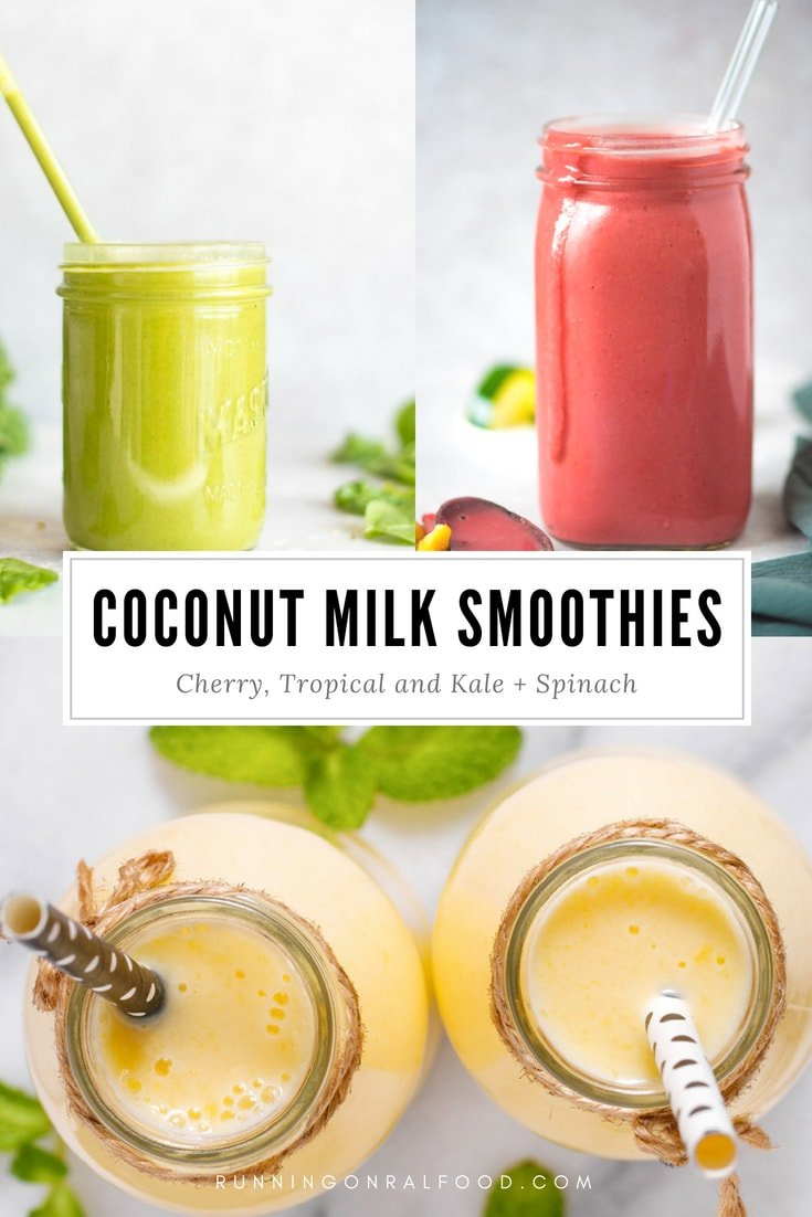 Try one of these 3 delicious, creamy coconut milk smoothie recipes. Which would you choose: cherry, kale and spinach or tropical mango pineapple? All are vegan! Great for breakfast or a healthy dessert or snack.#smoothies #coconutmilk #healthysmoothie #vegansmoothie #veganrecipe #cherrysmoothie #kalesmoothie #pineapplesmoothie