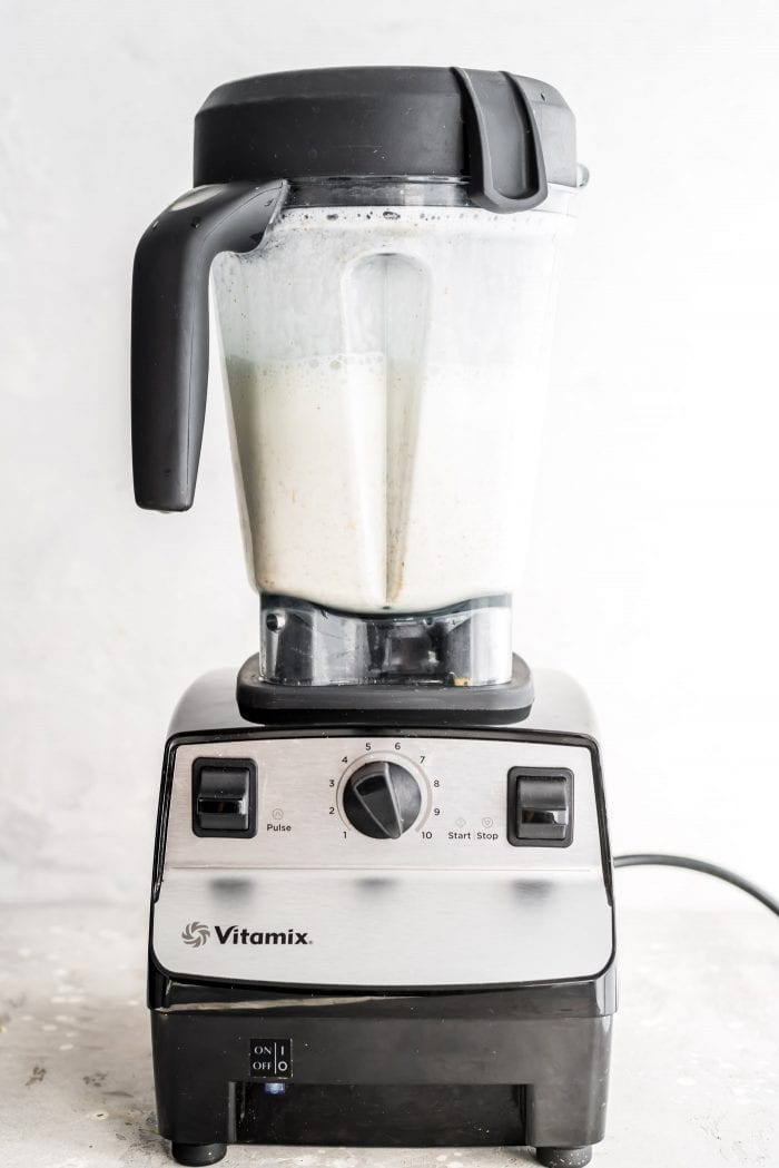 Blended homemade almond milk in a Vitamix blender.
