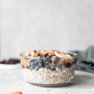 Vegan Blueberry Chia Overnight Oats Recipe - Running on Real Food