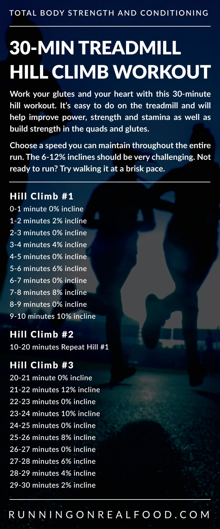 Instructions for a 30-minute hill climb workout.