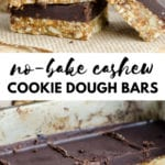 No-Bake Cashew Cookie Dough Bars Running on Real Food
