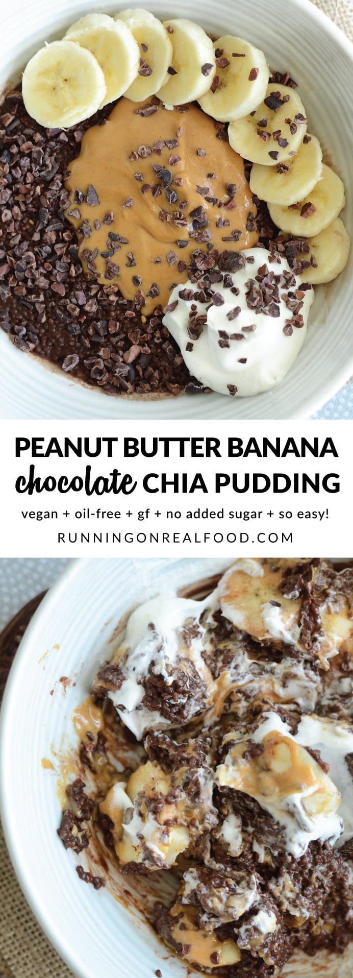 Chocolate chia pudding topped with banana, peanut butter and cacao nibs. Try it with all your favourite toppings like coconut whipped cream for a healthy and delicious dessert! Takes just minutes to prep and it's ready in 20-30 minutes or so. YUM!!