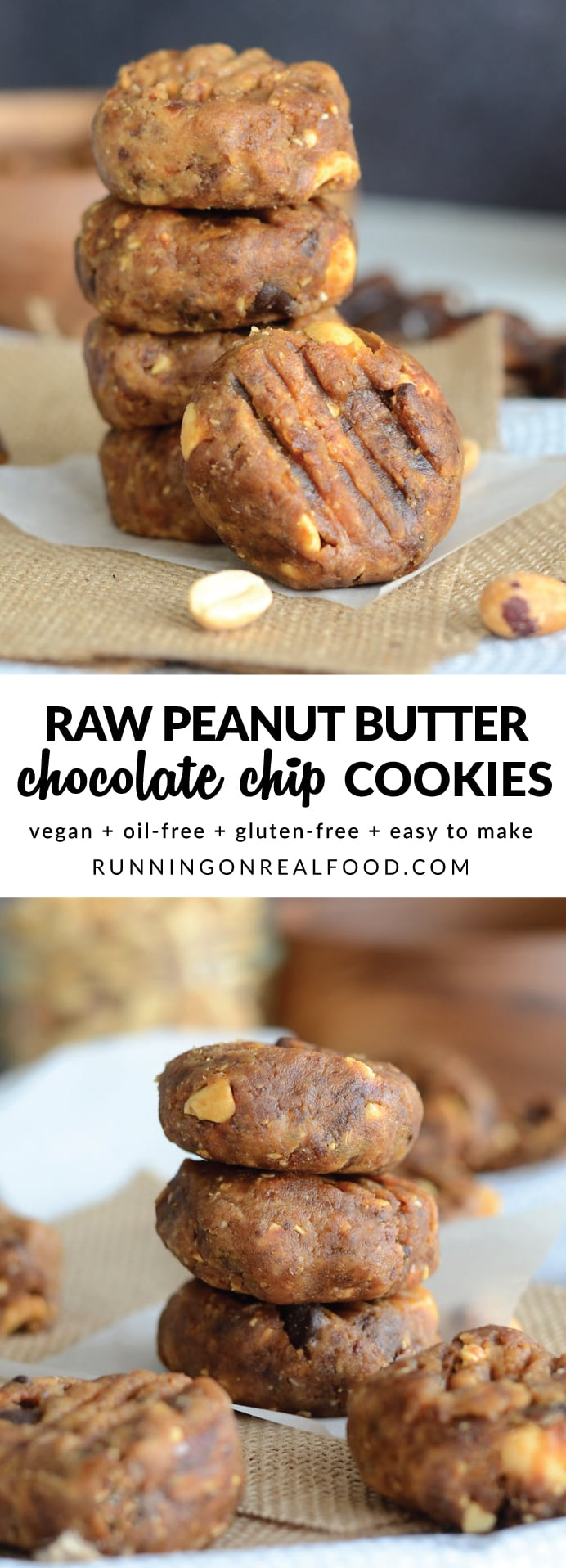 These Raw Peanut Butter Chocolate Chip Cookies take just minutes to make and taste just like raw cookie dough! Make them your own by switching up the nut butter and the add-ins. How about tahini cranberry cookies, almond butter chocolate chip or sunflower seed butter dark chocolate!! Vegan, oil-free, GF, no baking required!