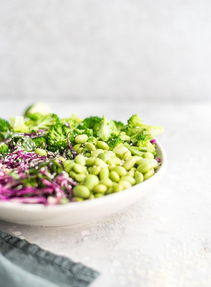 Vegan Edamame and Broccoli Salad - Running on Real Food