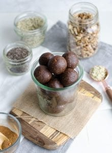 Chocolate Superfood Energy Balls with Hemp, Cacao and Chia Seeds
