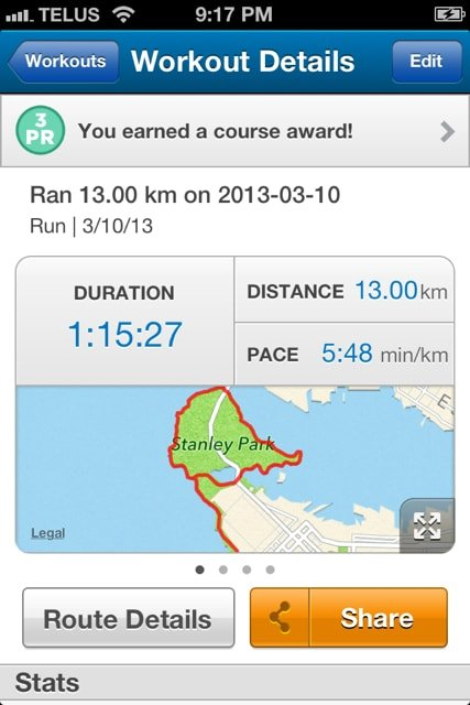 13 km Run on the Vancouver Seawall