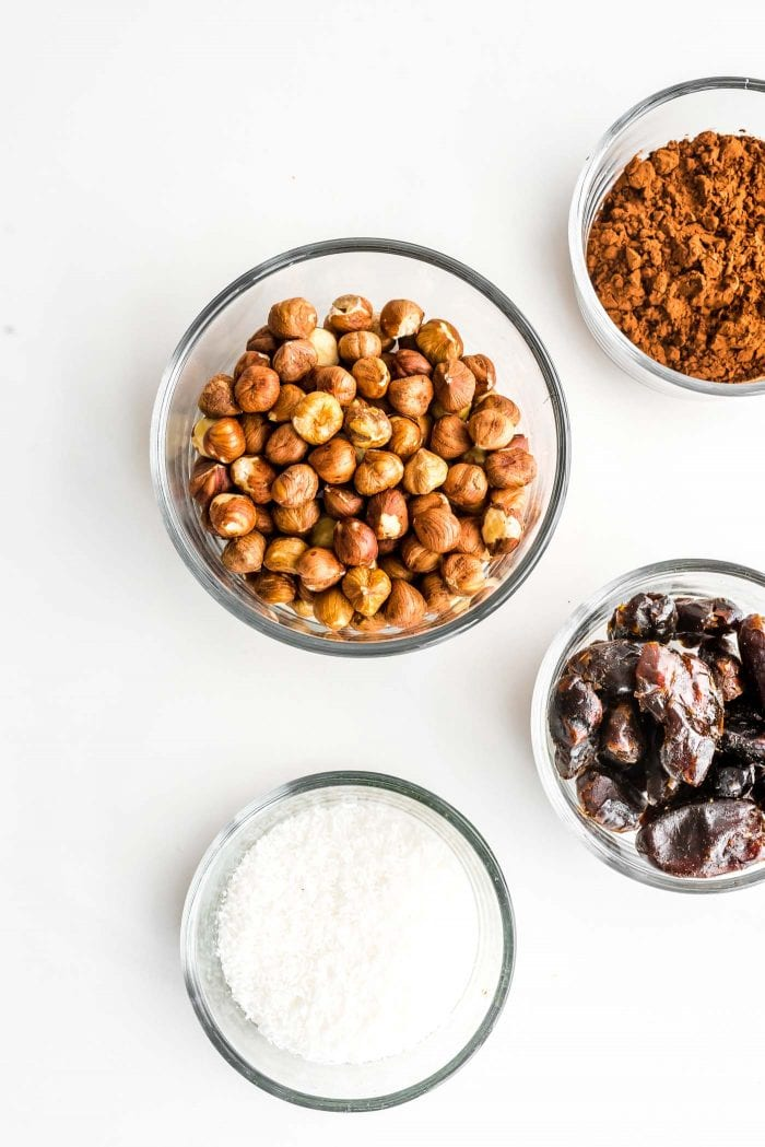 Ingredients for making raw vegan hazelnut truffles.