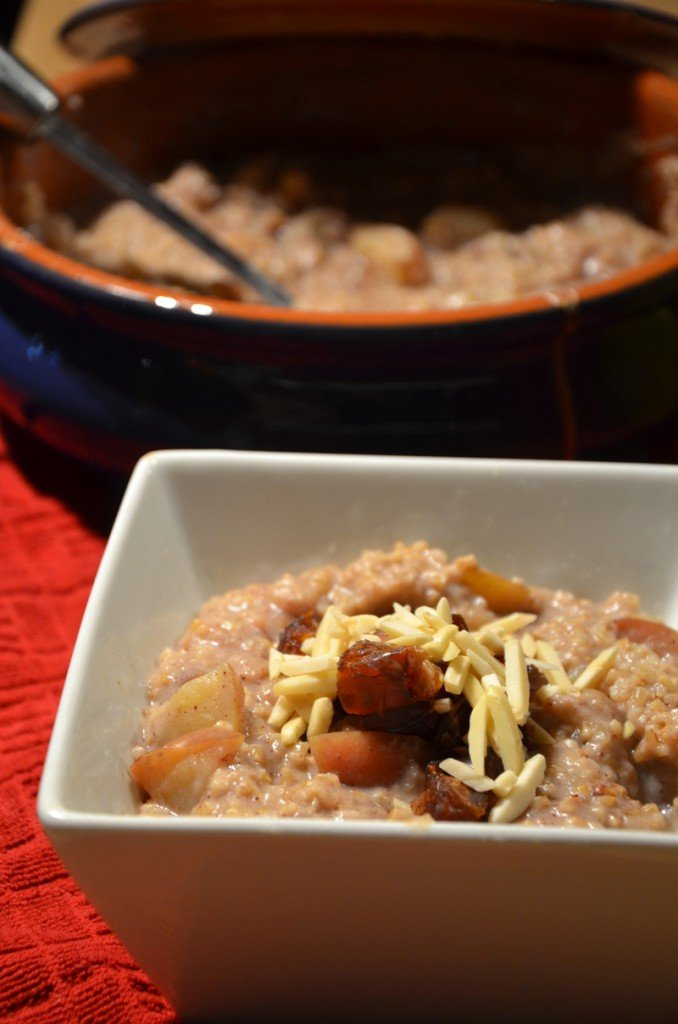 Apple Baked Steel Cut Oatmeal with Maple Syrup and Coconut Milk