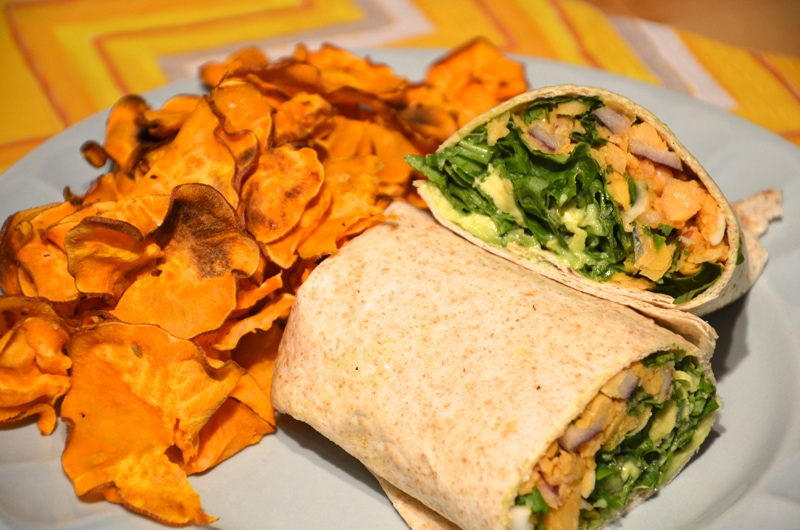 Spicy Chickpea Wraps with Spinach, Avocado and Cilantro
