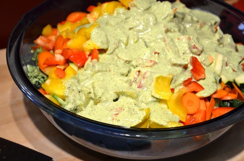 Avocado Kale Salad with Creamy Almond Basil Dressing
