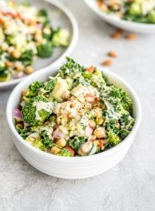 Broccoli Kale Vegan Chickpea Salad Recipe - Running on Real Food
