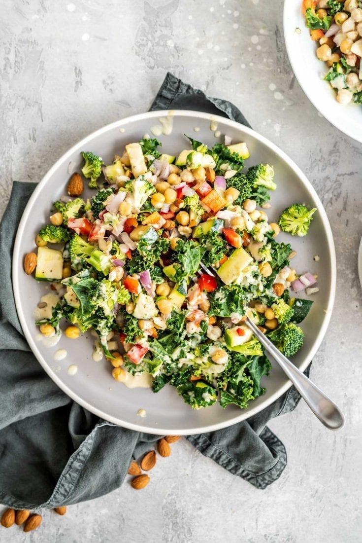 Vegan Chickpea Salad with Lemon Tahini Sauce
