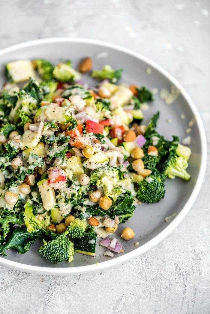 Easy Vegan Chickpea Salad with Kale and Broccoli