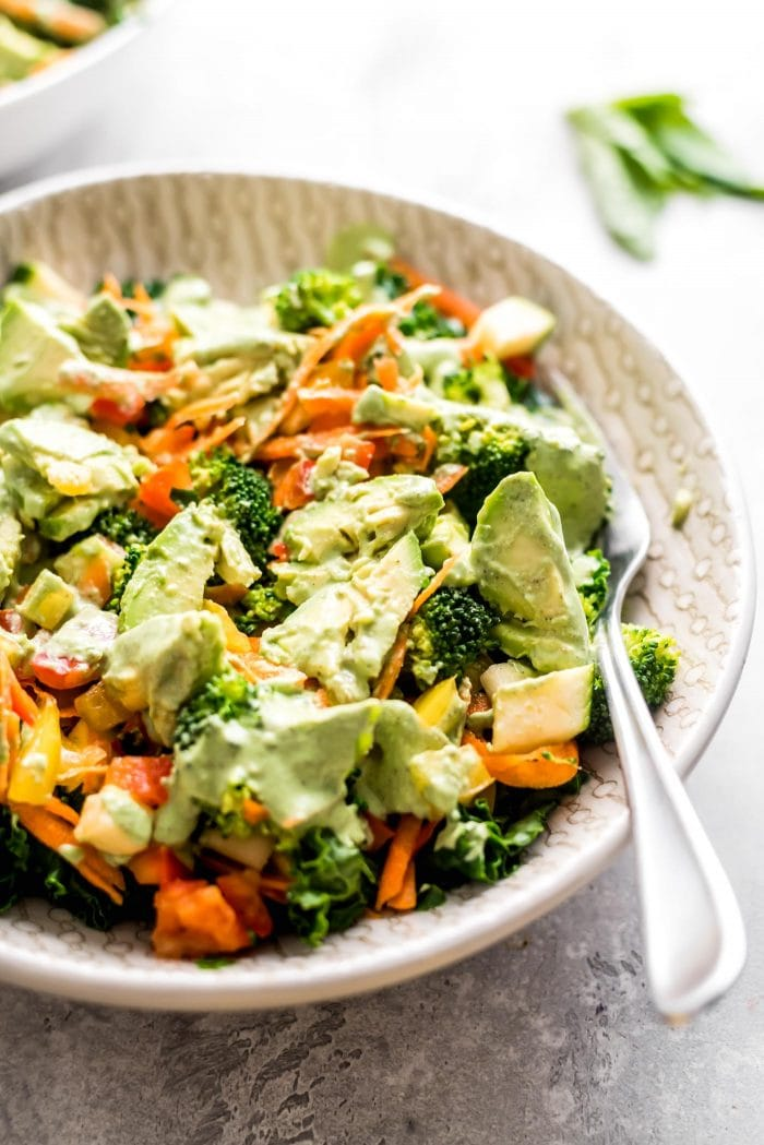 Kale and Avocado Salad with Vegan Creamy Basil Dressing