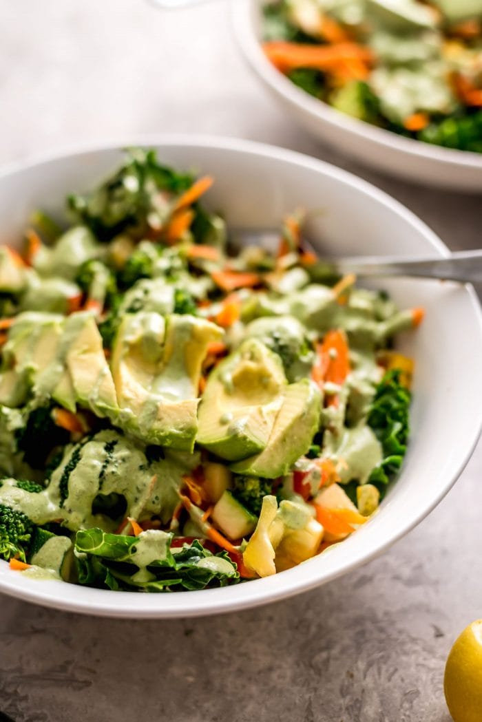 Avocado Kale Salad with Creamy Basil Dressing Recipe - Running on Real Food