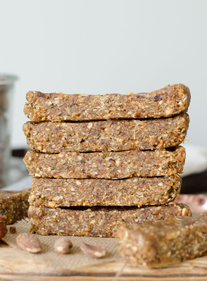 No-Bake Almond Oat Bars with Hemp Seeds and Peanut Butter