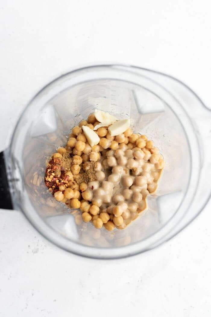 Chickpeas, tahini, garlic, lemon and sea salt in a Vitamix.