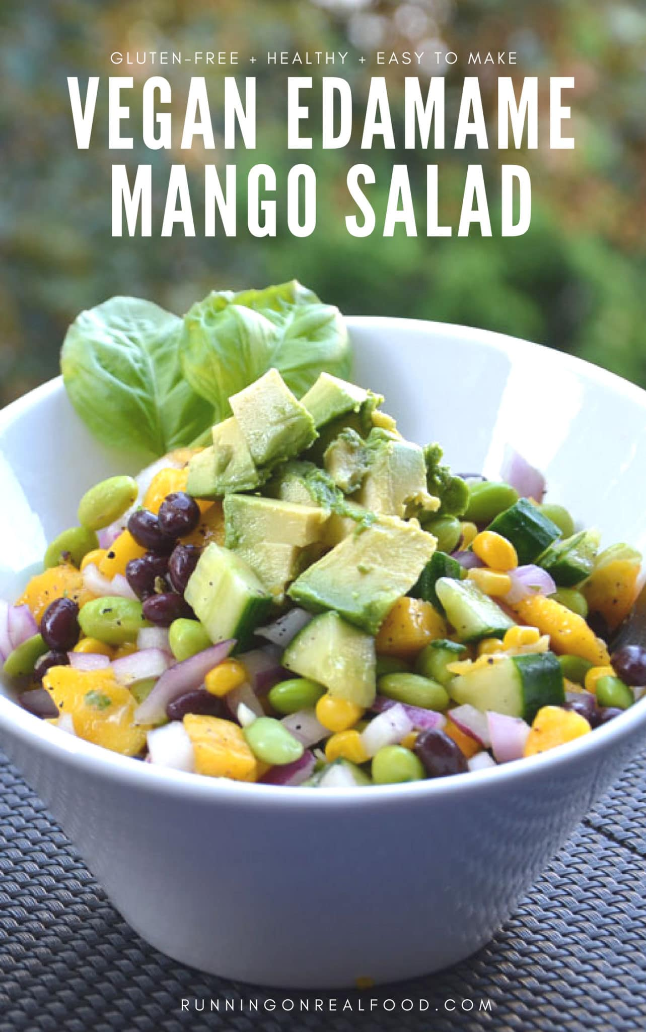 This high-protein edamame mango salad with basil vinaigrette is full of flavour, easy to make, vegan, gluten-free and can be oil-free. Perfect for summer BBQ's and potlucks but delicious year-round too.