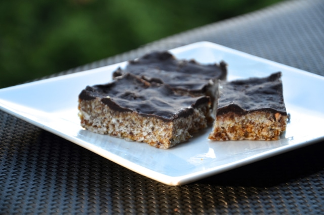 Raw Coconut Bars with Chocolate Ganache Topping