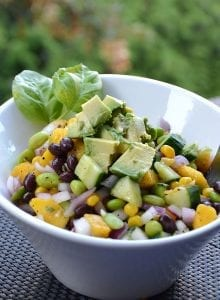 High- Protein Edamame Mango Salad with Basil Vinaigrette