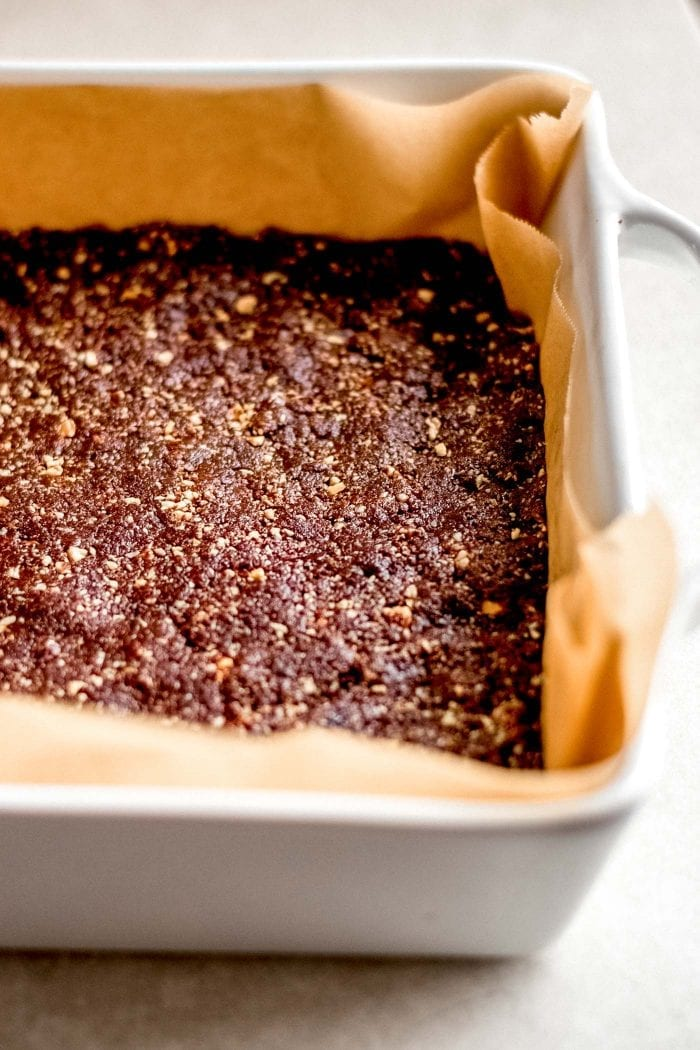 Press the No-Bake Brownie Dough into a Brownie Pan