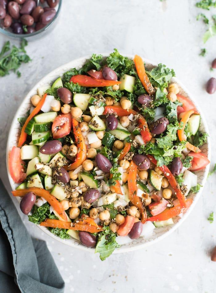Vegan Mediterranean Kale Salad Recipe - Running on Real Food
