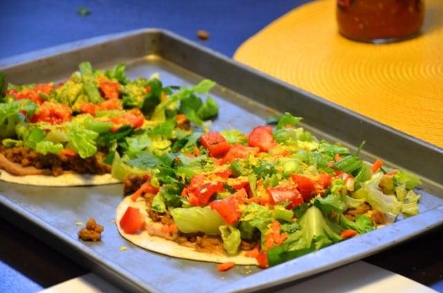 Vegan Lentil Tostadas with Easy Tomatillo Sauce and Avocado