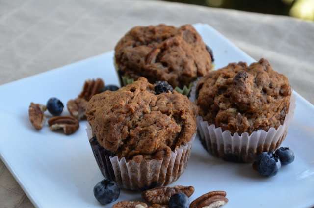 Vegan Blueberry Pecan Muffins | Running on Real Food