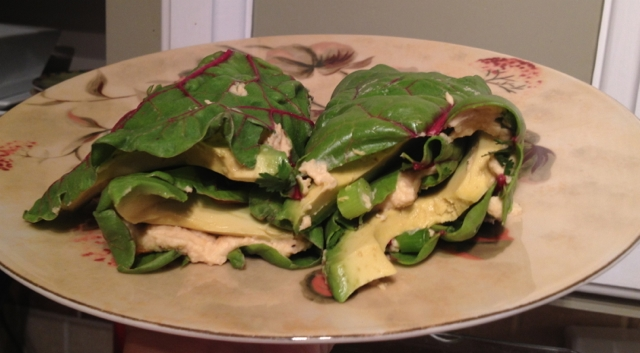 Spicy Hummus Swiss Chard Wraps | Running on Real Food