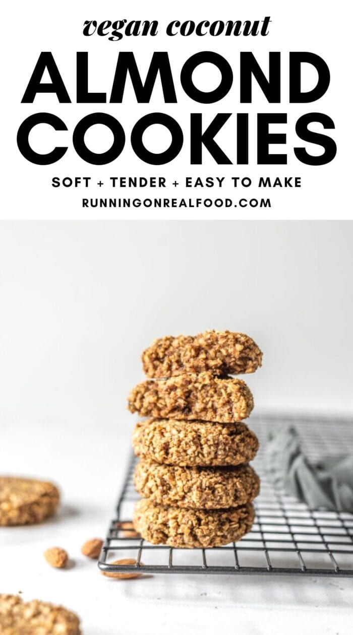 Pinterest graphic with an image and text for coconut almond date cookies.