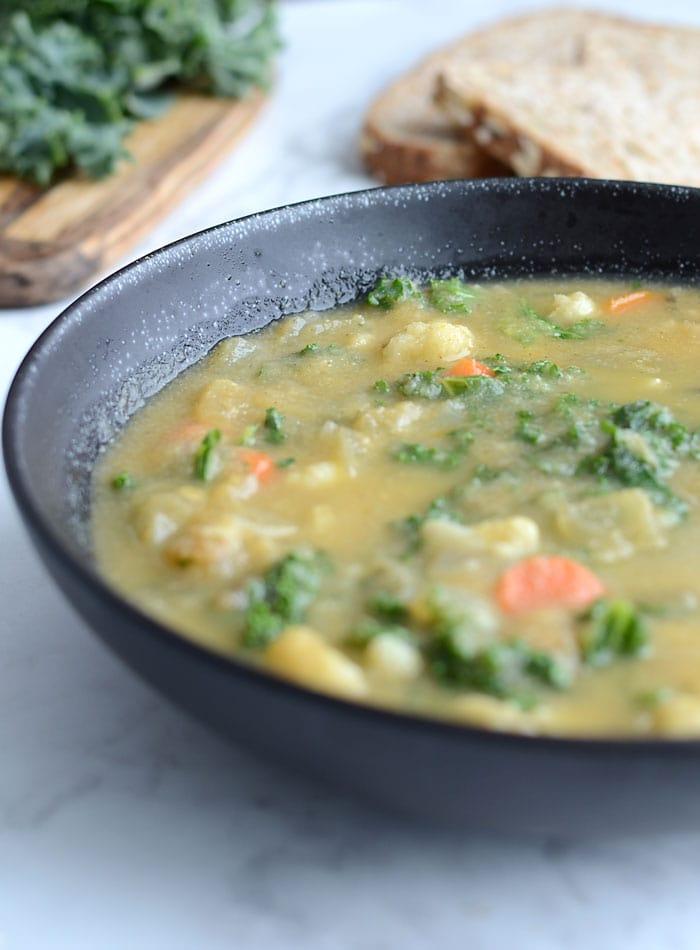 Healthy Kale and Cauliflower Soup - Vegan