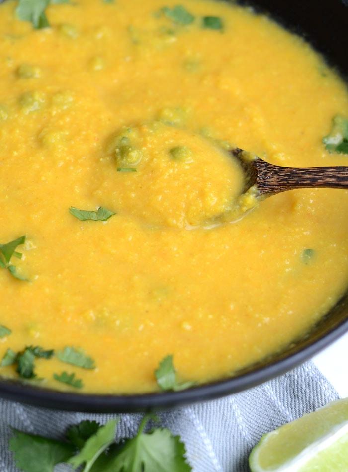 Curried Cauliflower Sweet Potato Soup - Vegan, Healthy, Oil-Free