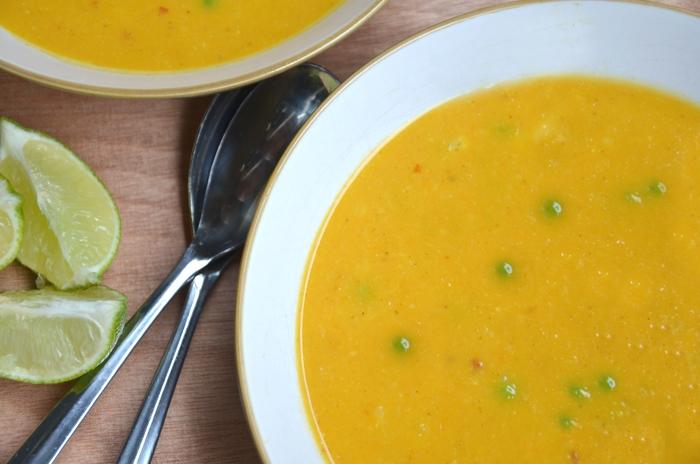 Curried Cauliflower Sweet Potato Soup - Healthy + Vegan!