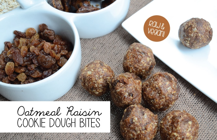 Oatmeal Raisin Cookie Dough Bites - Raw & Vegan | Running on Real Food