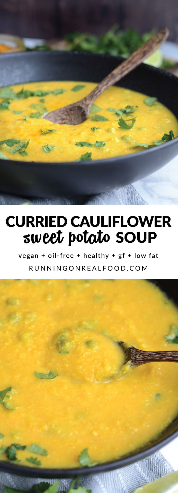 Healthy Curried Cauliflower Sweet Potato Soup that's delicious, budget-friendly, vegan, simple to make and bursting with amazing flavours.