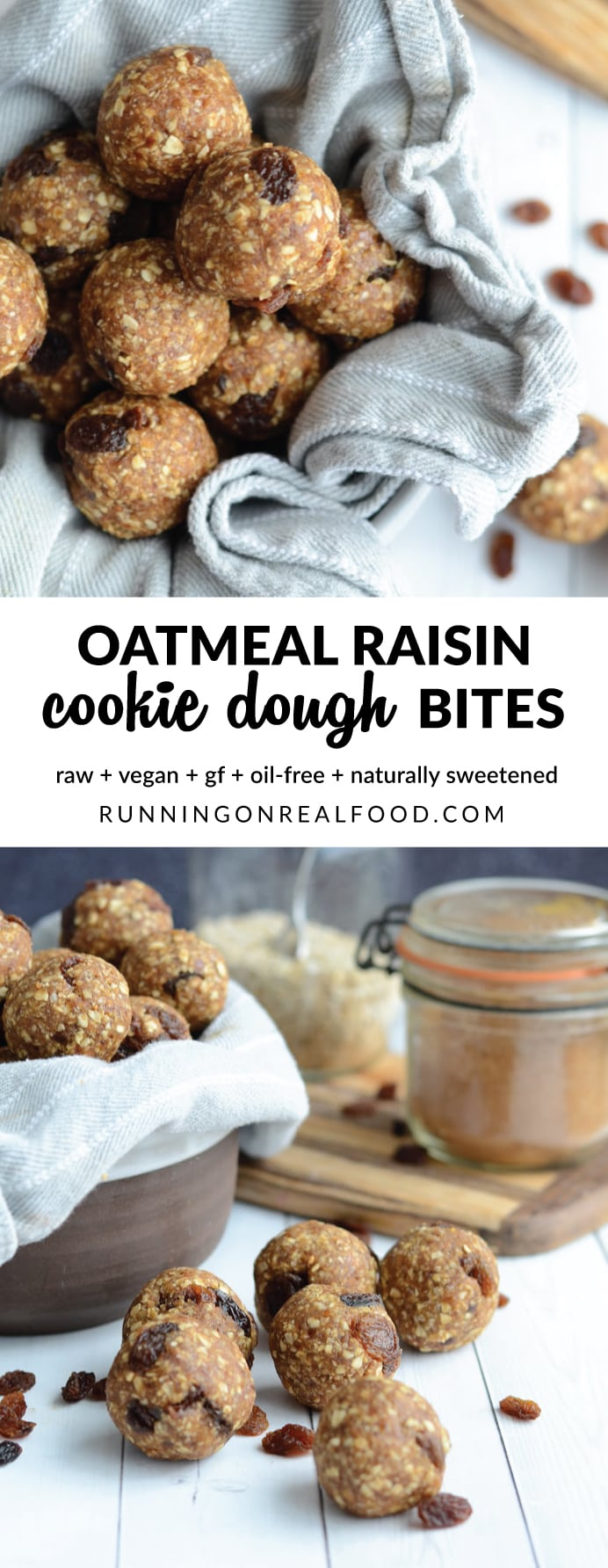 Who doesn't love a good oatmeal raisin cookie!? I sure do but I don't love the loads of sugar and butter they were most likely made with. The solution? Raw vegan oatmeal raisin cookie dough bites! Ready in minutes with simple ingredients you probably already have. These oatmeal raisin cookie dough bites are raw, vegan, gluten-free and taste amazing!
