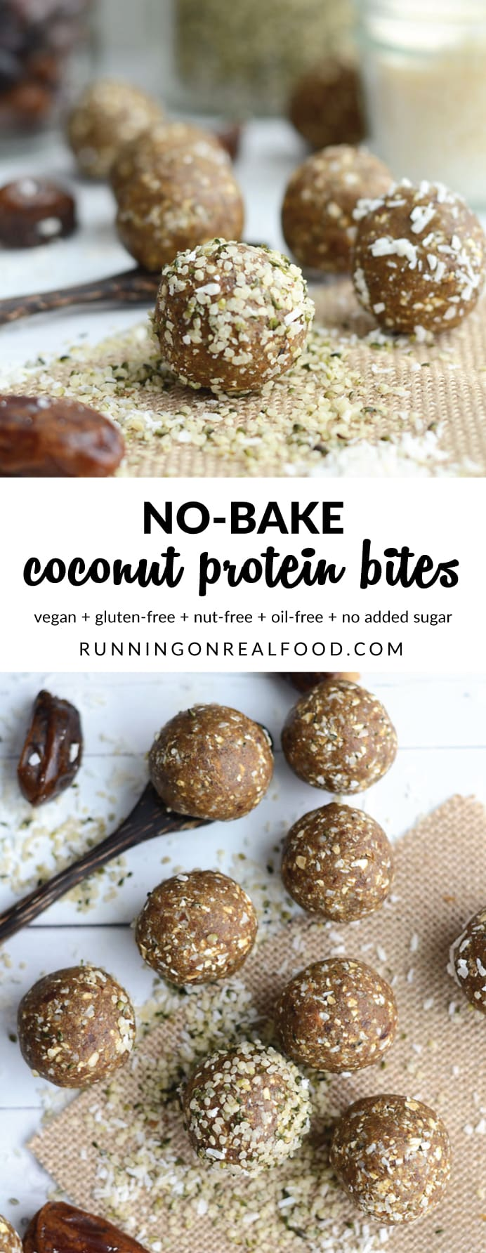 All you need is 5 minutes and these coconut protein bites will be ready to go. These make a great pre or post-workout snack for vegans. Gluten-free, nut-free.