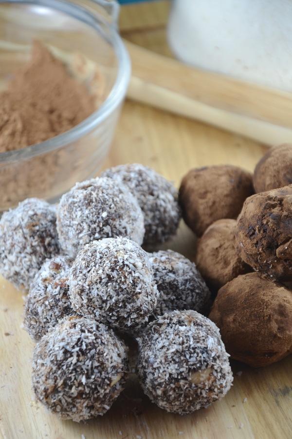 Chocolate Coconut Energy Balls with Almonds - Vegan, No-Bake