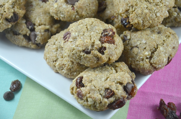 vegan oatmeal raisin chocolate chip cookies