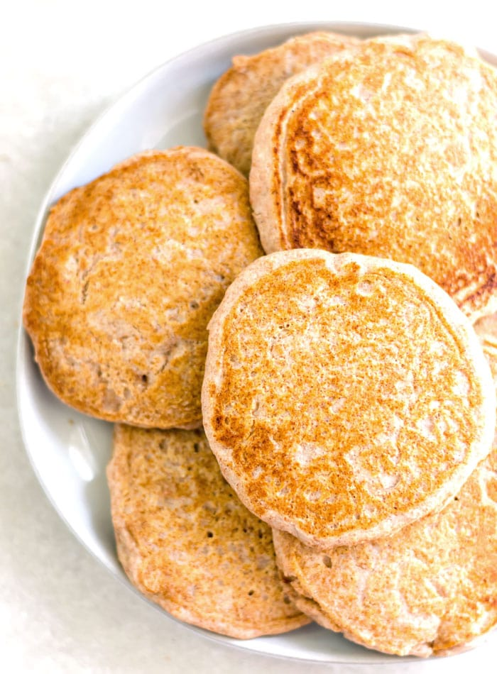 Fluffy Vegan Whole Wheat Pancakes - Running on Real Food