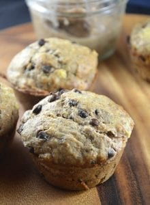 Vegan Banana Chocolate Chip Muffins with Almond Butter Filling