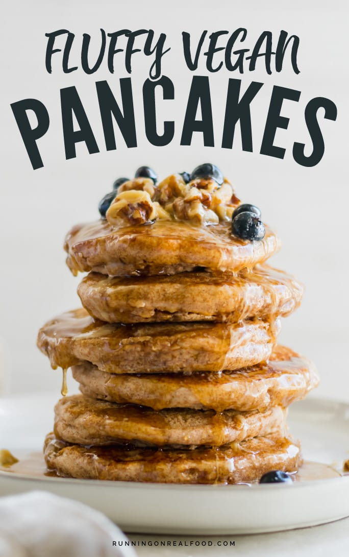 These delicious, simple whole wheat fluffy vegan pancakes are a wonderful breakfast option for vegans. Oil-free, no added sugar and only a few ingredients! Ready in minutes. Add your favourite healthy toppings and dig in!#veganpancakes #wholewheatpancakes #veganbreakfastrecipes #veganrecipes #vegan #healthypancakes #pancakes