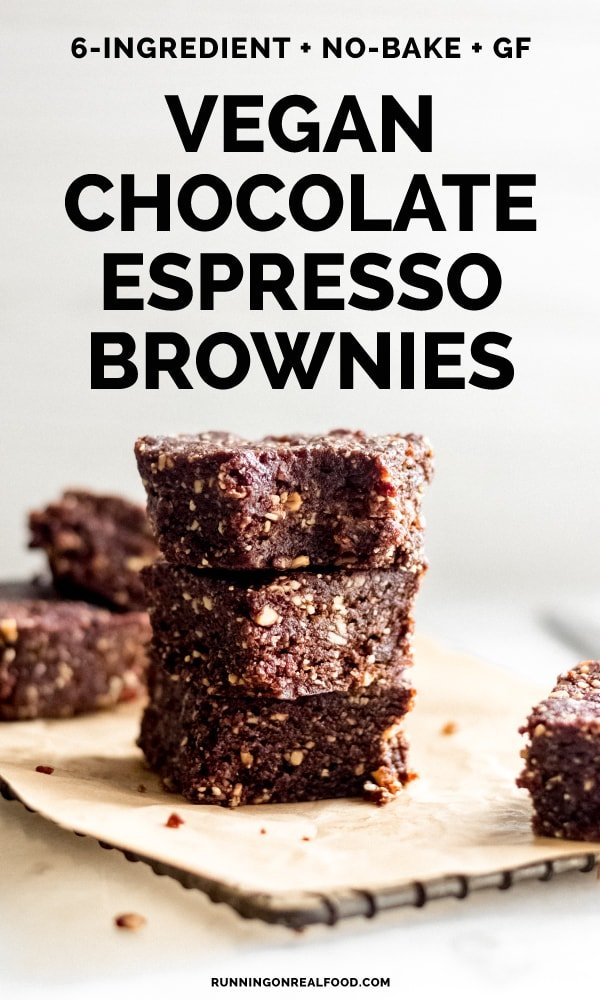 Made with healthy, whole foods, these no-bake chocolate espresso brownies make a decadent breakfast bar, morning snack or dessert. Vegan, gluten-free, oil-free, no added sugar.