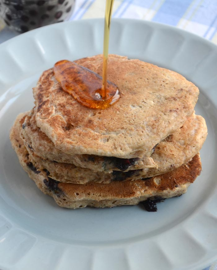 Whole Wheat Blueberry Coconut Vegan Pancakes