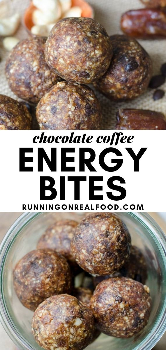 Pinterest graphic with an image and text for chocolate coffee balls.