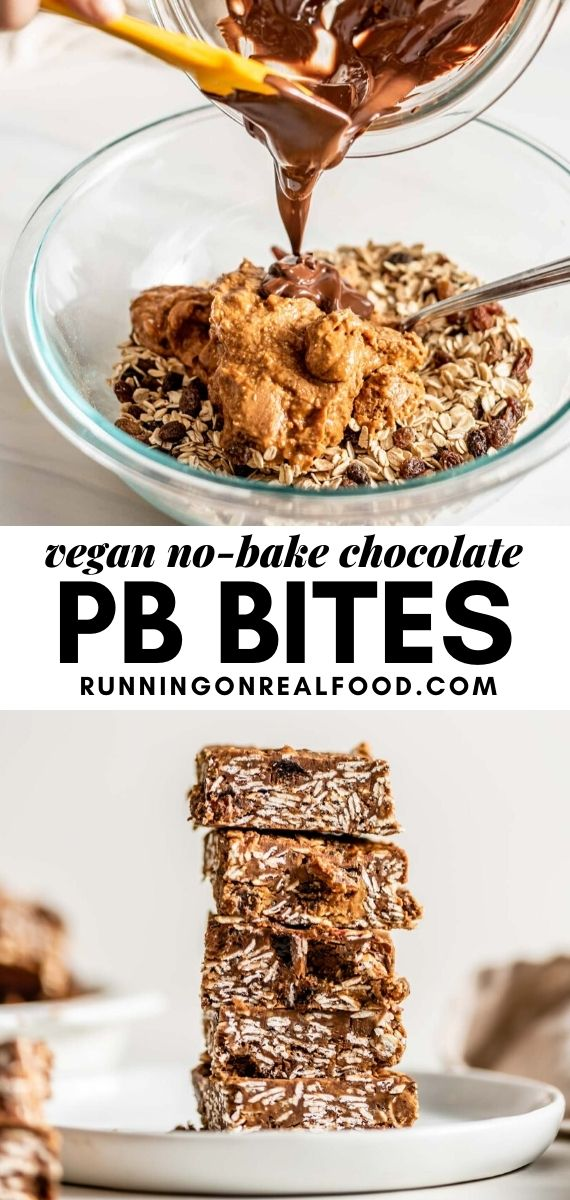 Pinterest graphic with an image and text for mini chocolate peanut butter oat bars.