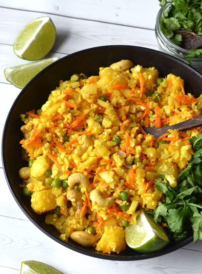 Vegan Pineapple Cashew Cauliflower Rice - Gluten-free, grain-free, low carb