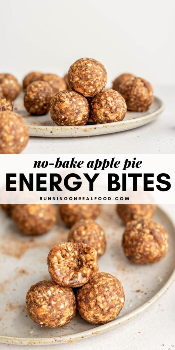 Pinterest graphic with an image and text for apple pie energy bites.