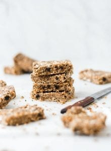 Stack of toasted coconut paleo hemp seed bars.