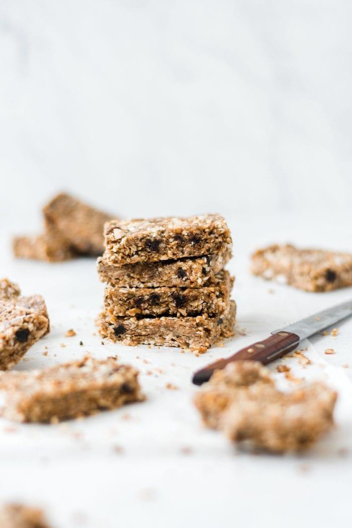 Paleo Coconut Bars With Hemp Seeds Vegan No Bake